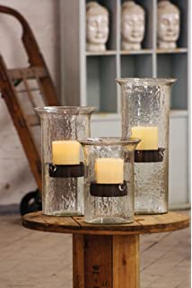 15 Textured Glass Candle Cylinder With Rustic Insert