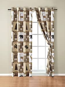 Rustic Modern Farmhouse Cabin Lodge Window Treatment Grommet Curtain Set with Patchwork of Wildlife Grizzly Bears Deer Buck and Plaid Check Patterns in Taupe Brown - Western-1 (Curtain Set)
