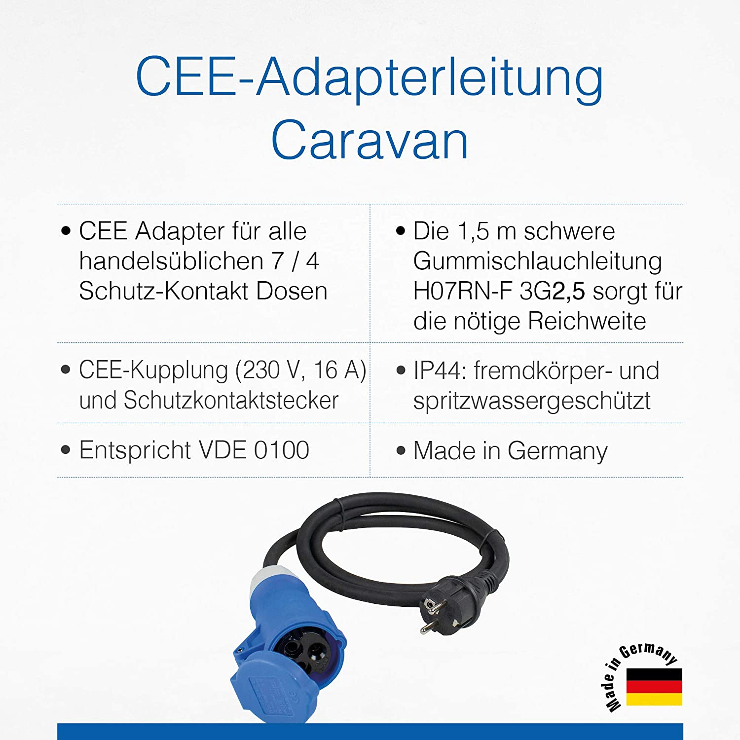 As Schwabe Cee Adapter Cable Caravan 230 V 16 A Cee Coupling Safety Plug With Protective Cap 3 Pole Cable For European Schuko Socket Ip44 Made In Germany Black I 60486 Baumarkt