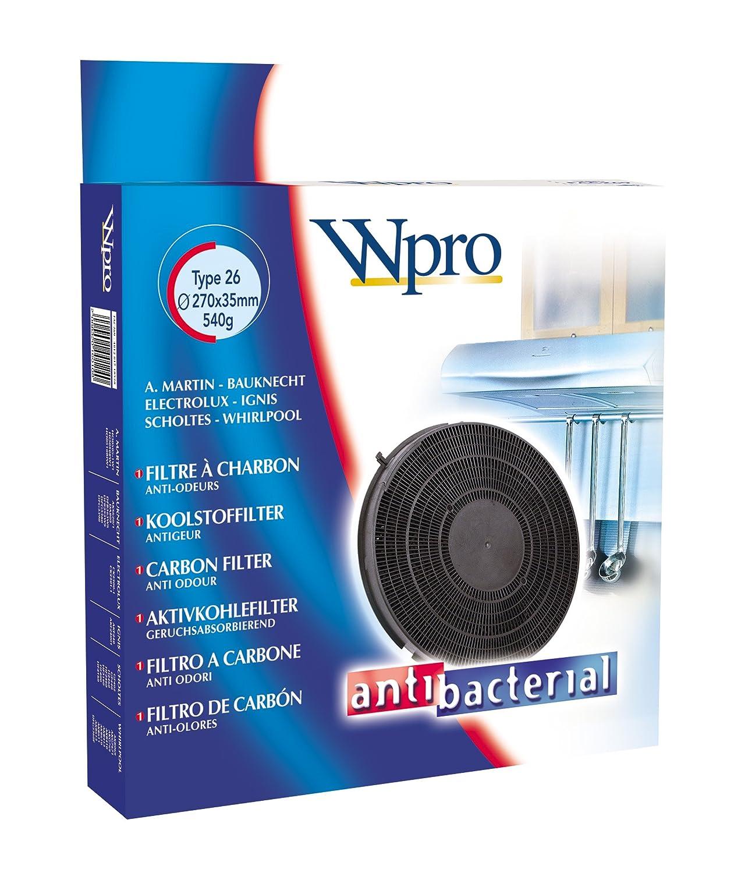 Wpro FAC269 Filtre de Hotte /à Charbon Type 26 Diam/ètre 280 mm Rechargeable