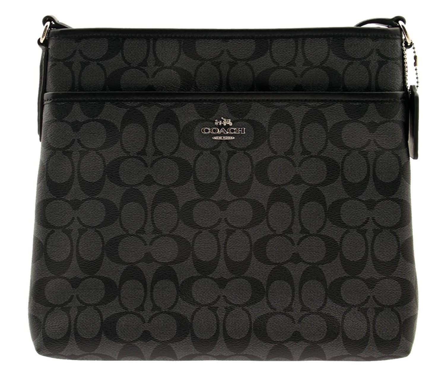 COACH Signature Coated Canvas File Bag Crossbody, F58297 (Black / Smoke)