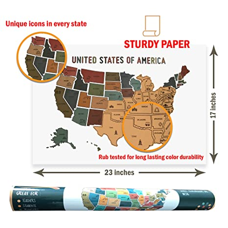 Oversized USA Scratch Off Map - 50 States Travel Tracker - Earth Tones on where i go, where i to be, where i left, where i started, where i did, where i lived,