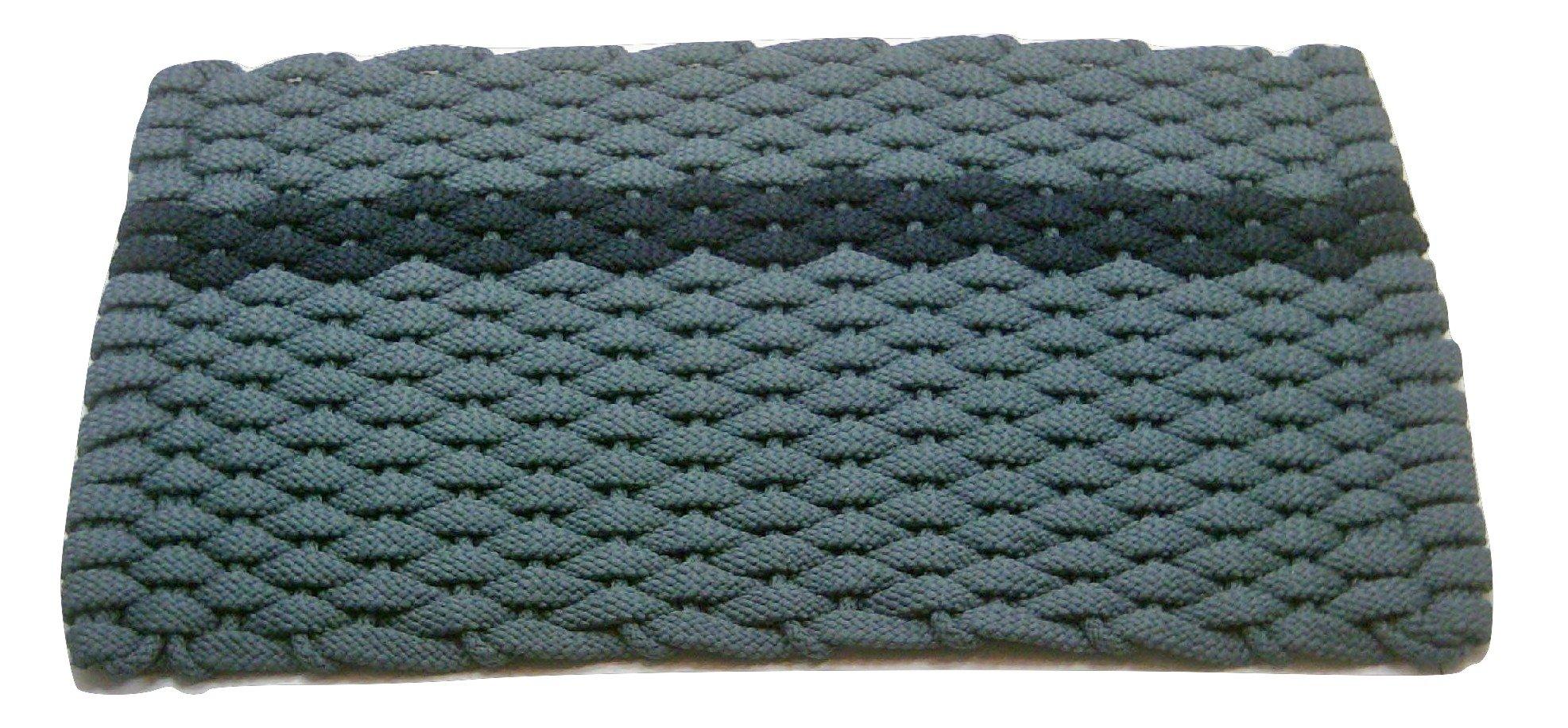 Rockport Rope Doormats 2034396 Indoor & Outdoor Doormats, 20'' x 34'', Light Blue with offset Navy Stripe