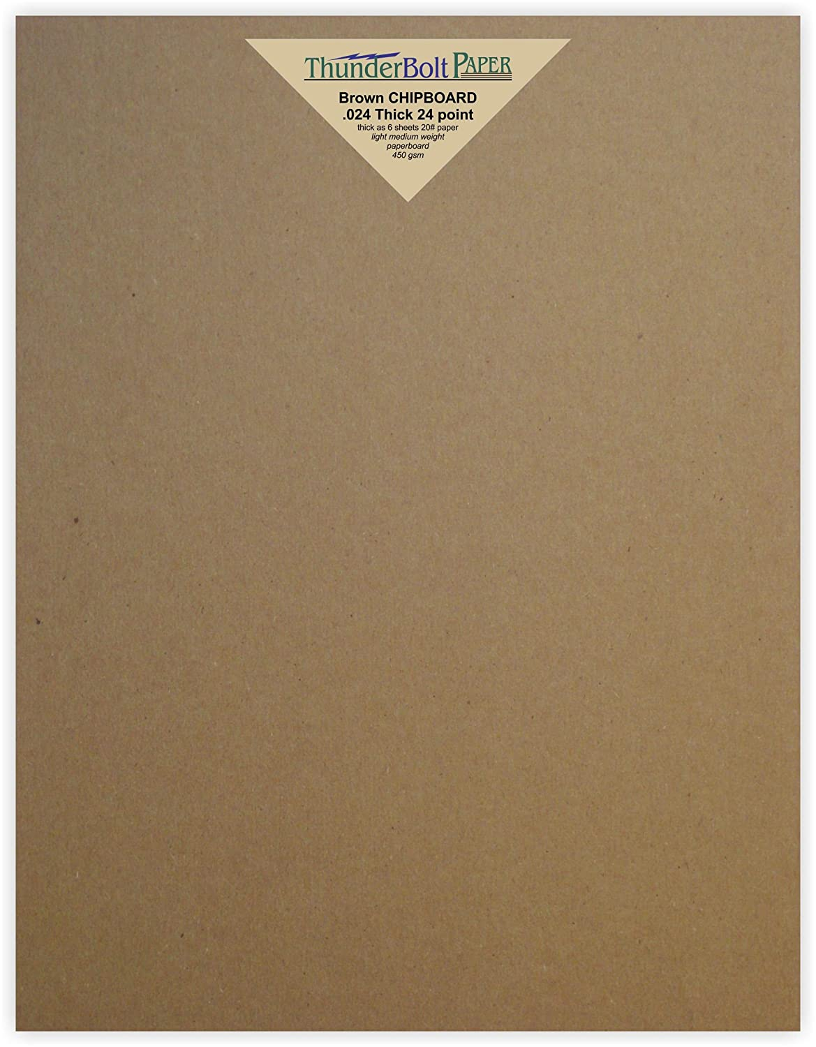 100 Sheets Chipboard 24pt (point) 8 X 10 Inches Light Medium Weight Frame|Photo Size .024 Caliper Thick Cardboard Craft|Packing Brown Kraft Paper Board TBP 4336978337