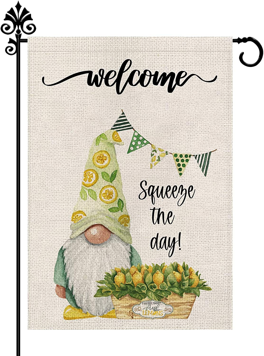 Gnomes Summer Garden Flag Welcome Lemon Vertical Double Sided Burlap Spring Holiday Outdoor Yard Decoration 12.5 x 18 Inch