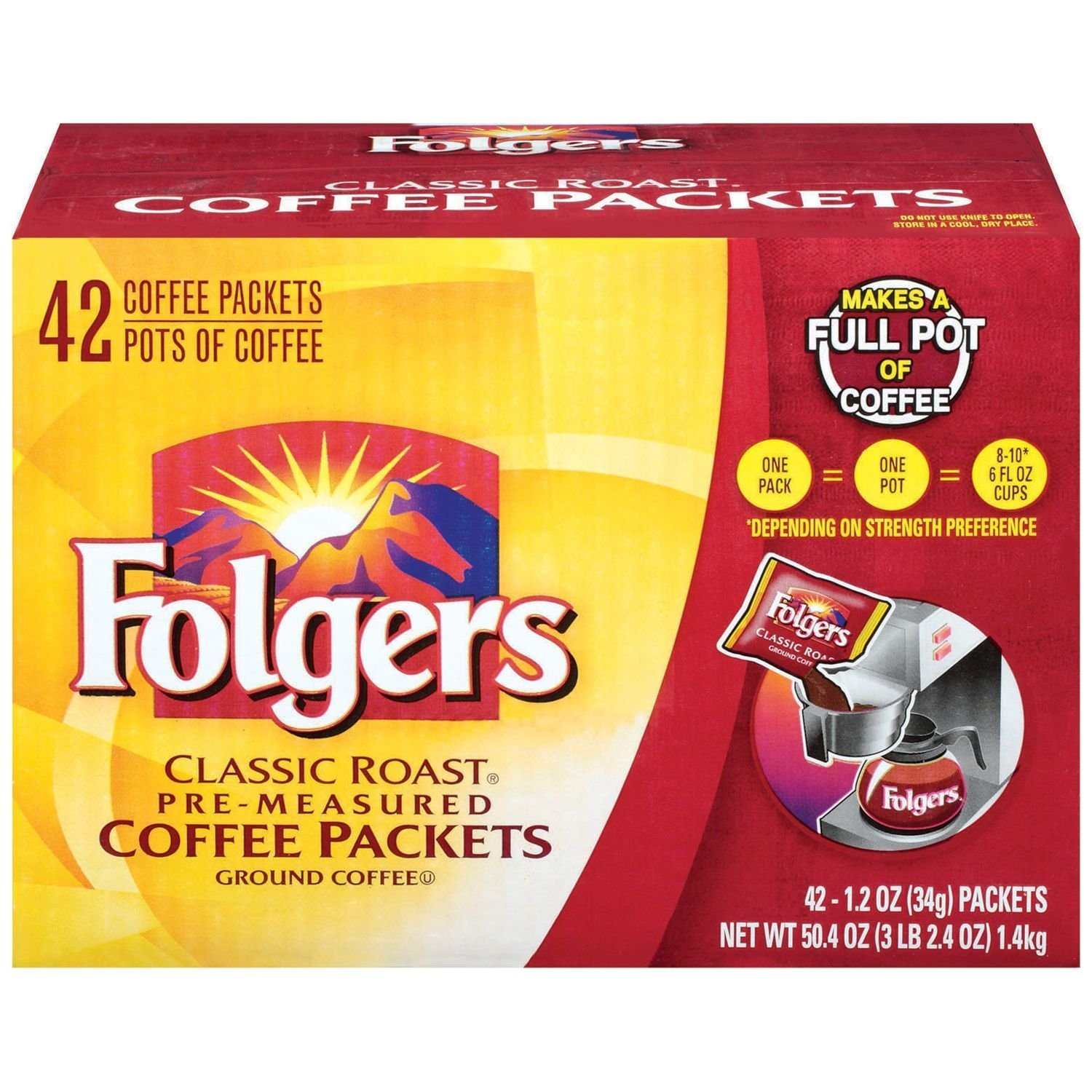 Folgers Classic Roast Ground Coffee Packets (1.2 oz., 42 ct.) (pack of 6) by Folgers (Image #1)