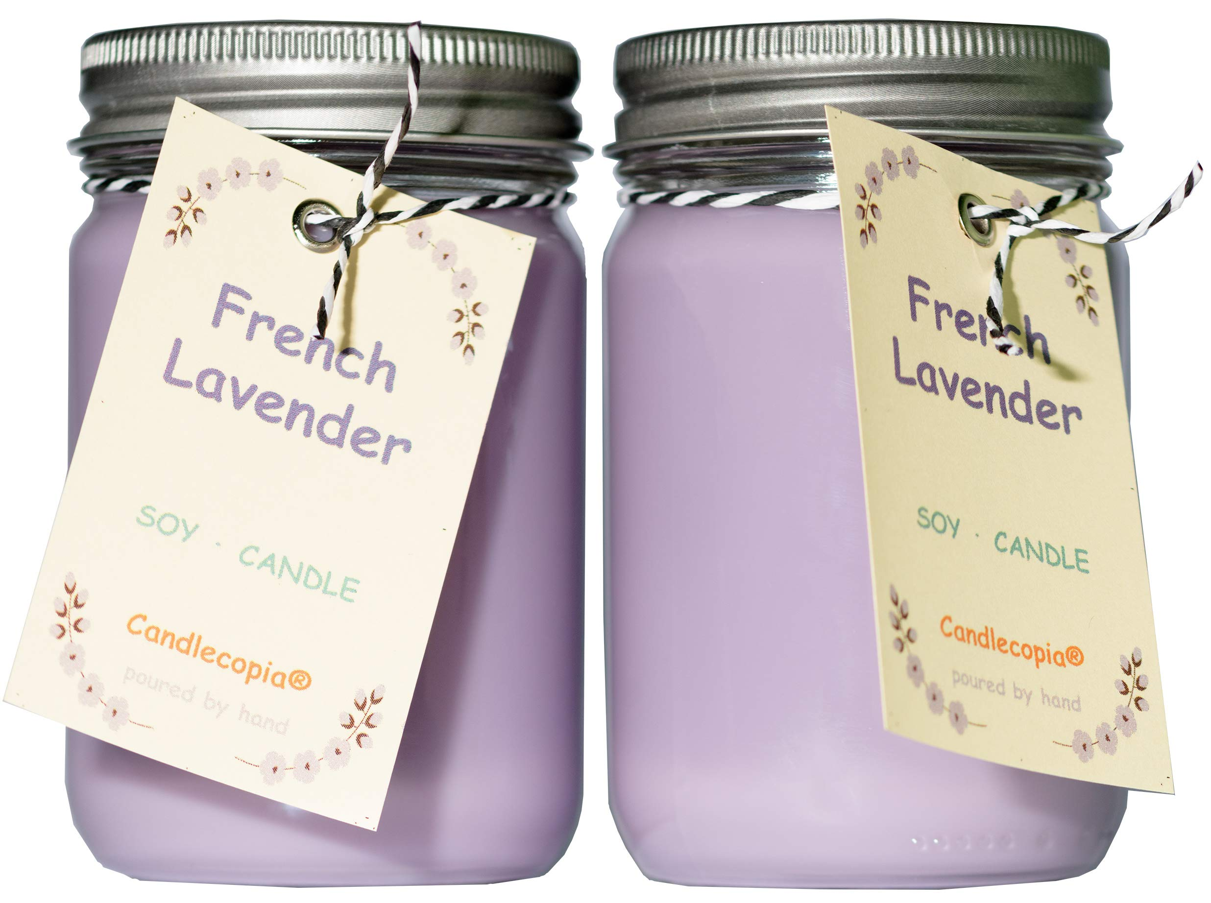 Candlecopia French Lavender Strongly Scented Hand Poured Premium Soy Candles, 12 Ounce Pewter Lid Canning Jar x 2-Pack