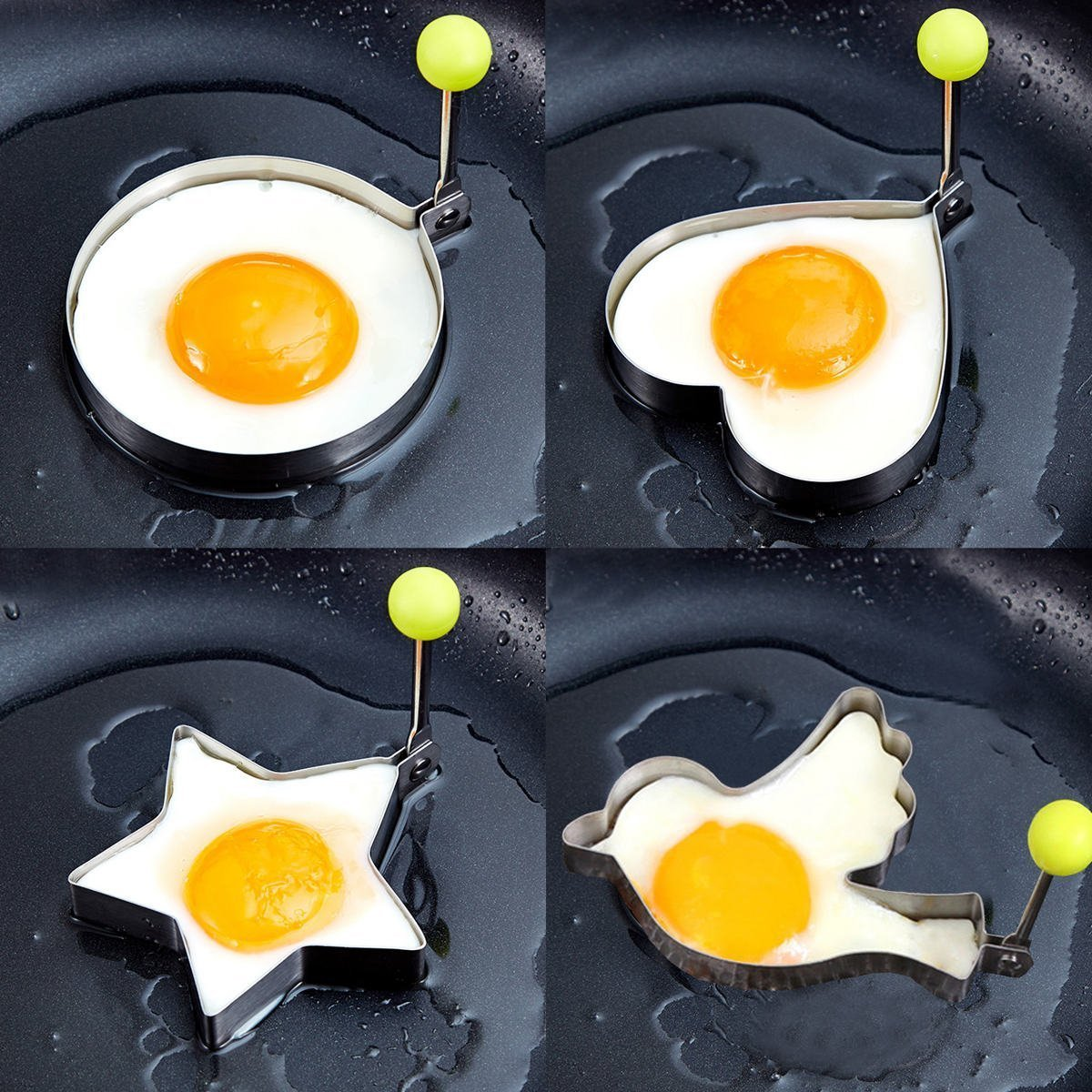 Egg poacher- 8pcs Different Shapes Stainless Steel Fried Egg Molds with 1pc Silicone Pastry Brush - Set of 9 by PNBB (Image #6)