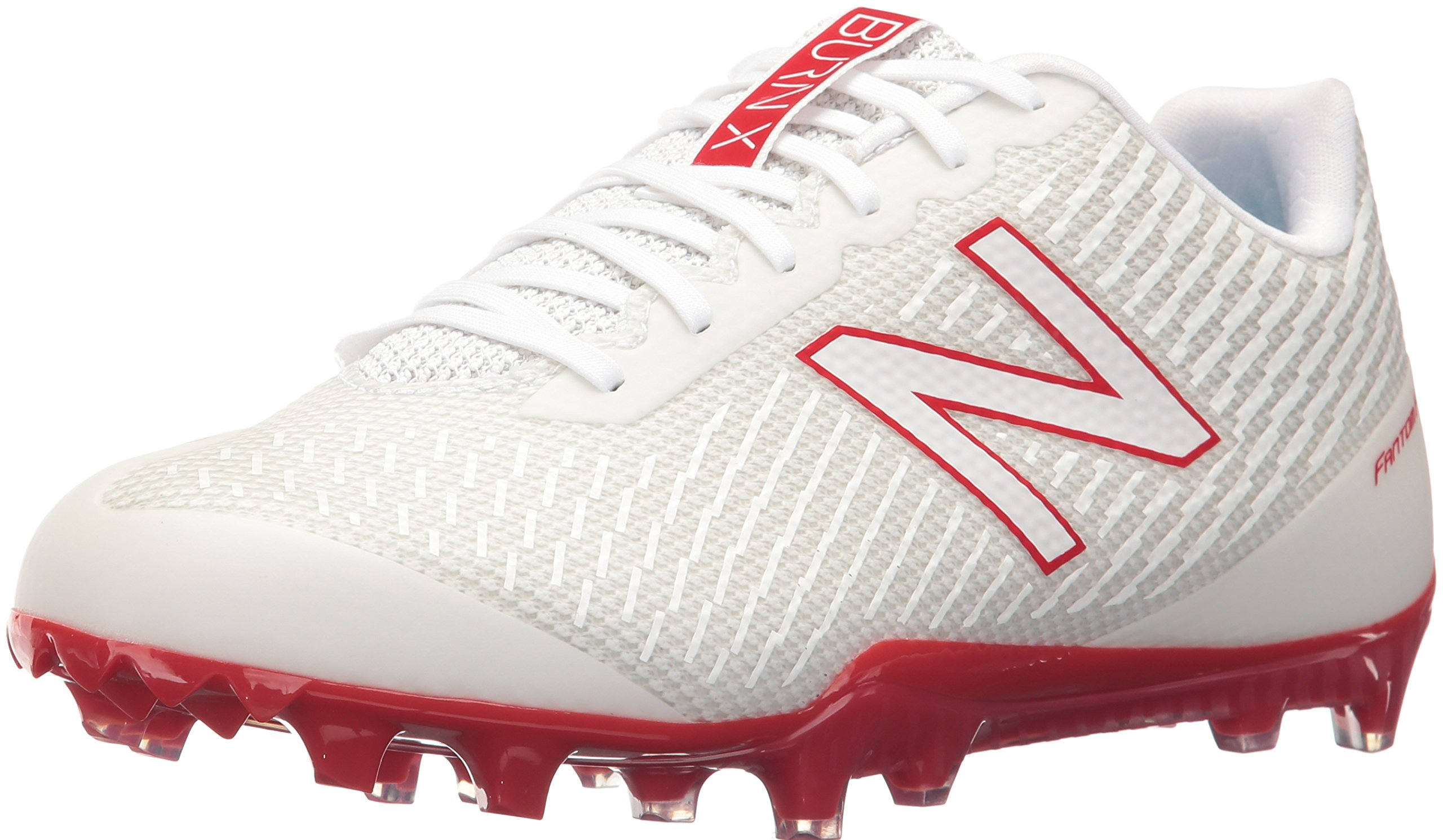 New Balance Men's Burn Low Speed Lacrosse Shoe, White/Red, 7 D US