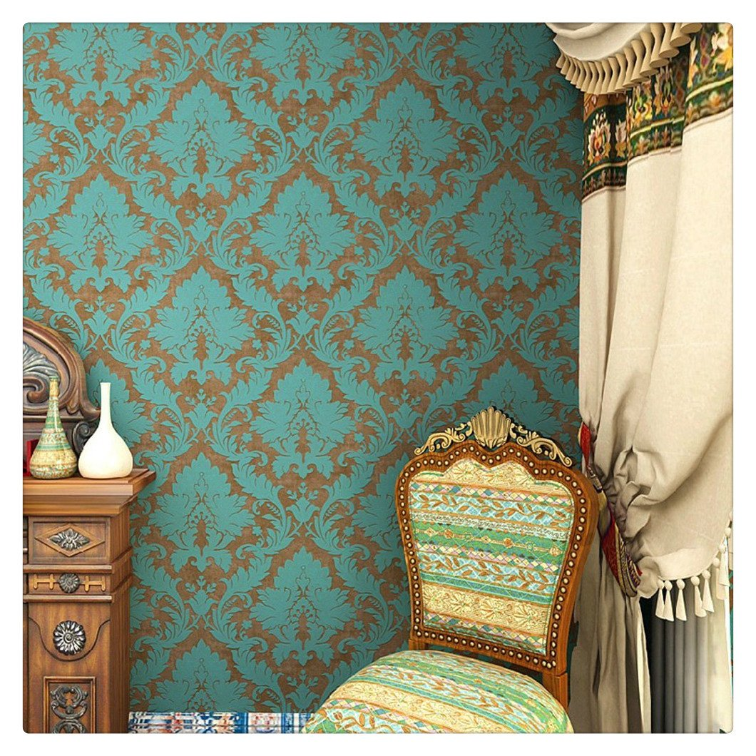 HaokHome 600906 Non Woven Vintage Blue/Bronze Damask Wallpaper for bedroom Wallpaper walls 20.8'' x 393.7''