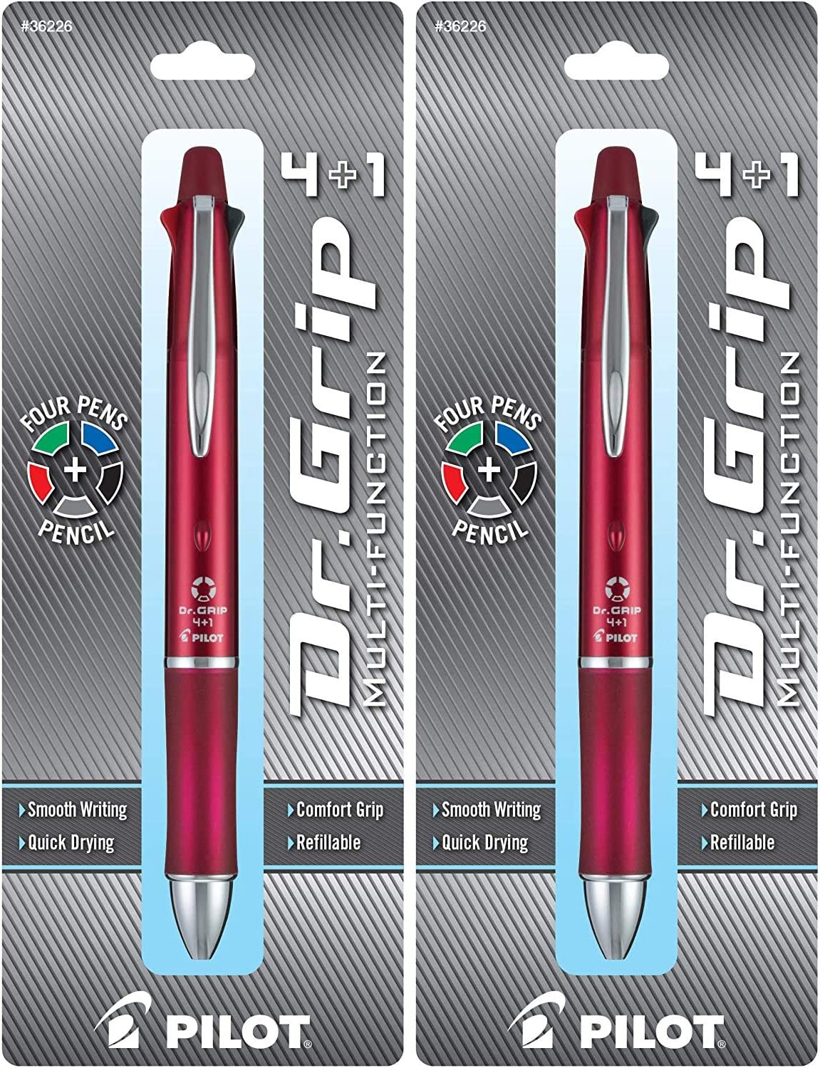 Fine Point Grip 4+1 Multi-Function Refillable /& Retractable Ballpoint Pen Single Pen 36220 PILOT Dr Black//Red//Blue//Green Inks - 1 Black Barrel Pencil