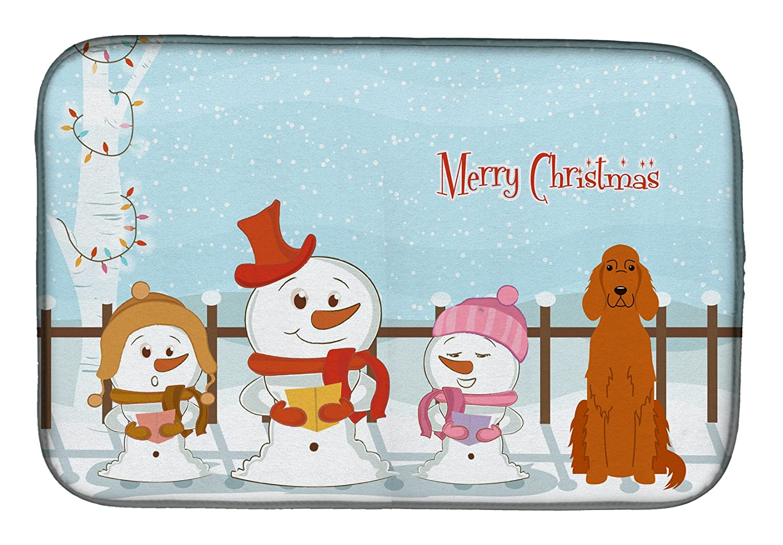 Caroline 's Treasures bb2395ddm Merry Christmas Carolers Irish Setterディッシュ乾燥マット、14