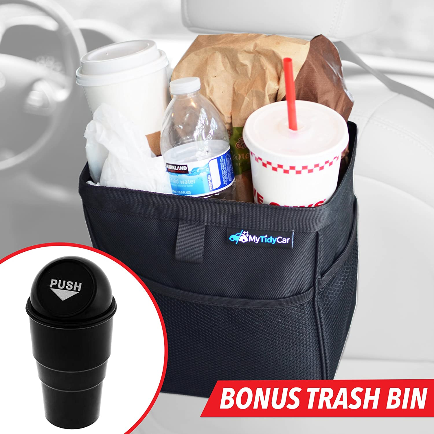Portable Waste Container with Lid and Waterproof Lining Hanging Wastebasket /& Auto Garbage Bag MyTidyCar Car Trash Can Large 3 Gallon Capacity