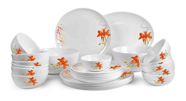 Cello Monarch Orange Lily Opalware Dinner Set, 27-Pieces, White