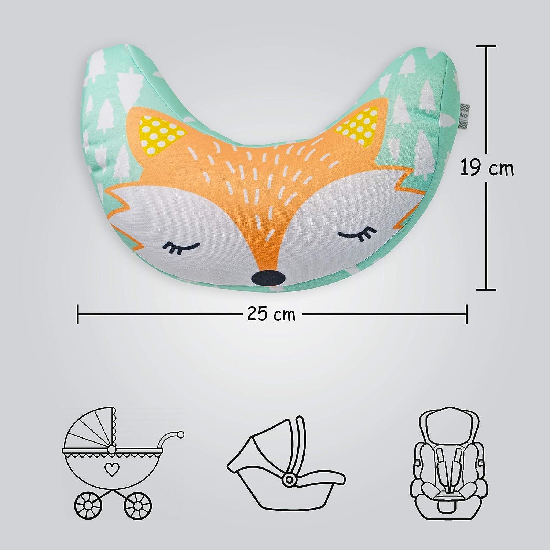 Progettato in Spagna Poggiatesta auto bambini Set Brunoko Protezione sedile auto bambini Organizzatore e cuscino per passeggino e auto perfetti per i bambini che viaggiano