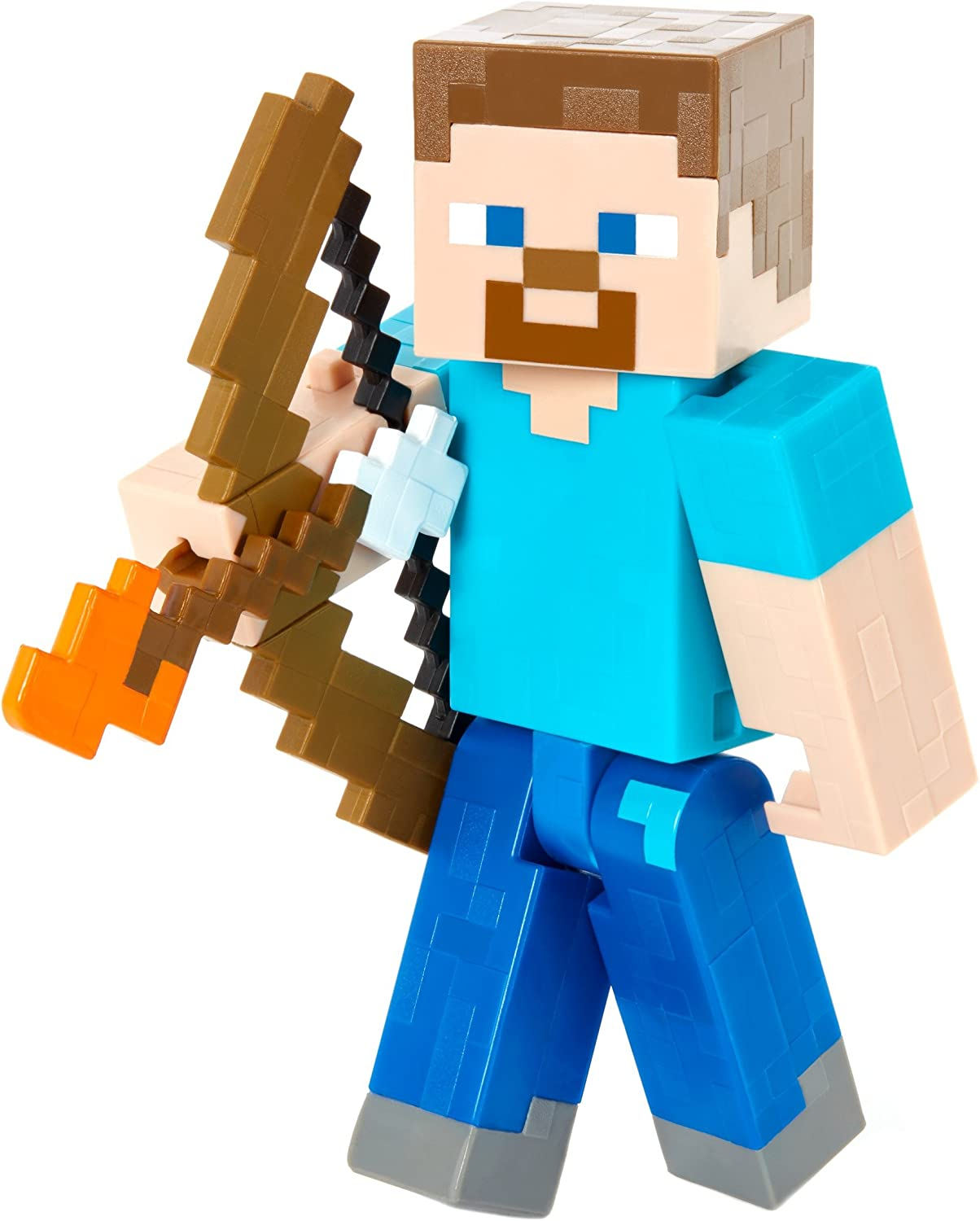 Amazon Com Minecraft Steve With Bow And Arrow Figure Toys Games