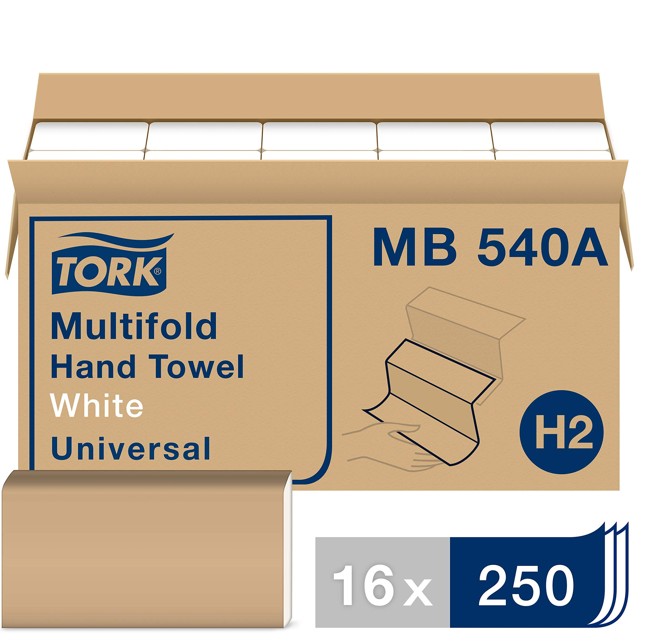 Tork Universal MB540A Multifold Paper Hand Towel, 1-Ply, 9.5'' Width x 9.13'' Length, White, (Case of 16 Packs, 250 per Pack, 4,000 Towels) by Tork