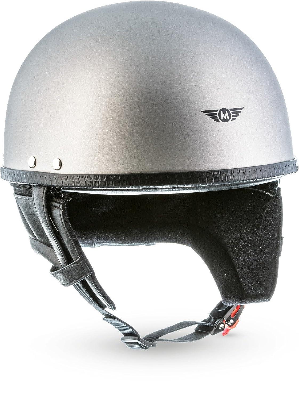 MOTO · D22'Titan Gray' (Grau) · Jet-Helm · Retro Mofa Chopper Roller Motorrad-Helm Scooter-Helm · Fiberglass · Extra small Shell · Click-n-SecureTM Clip · Tragetasche · M (57-58cm) MOTO Helmets