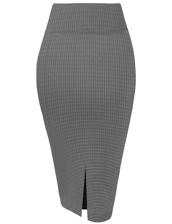 HyBrid & Company Womens Pencil Skirt for Office Wear KSK43584X 10690 Black/IVOR 1X by HyBrid & Company (Image #2)