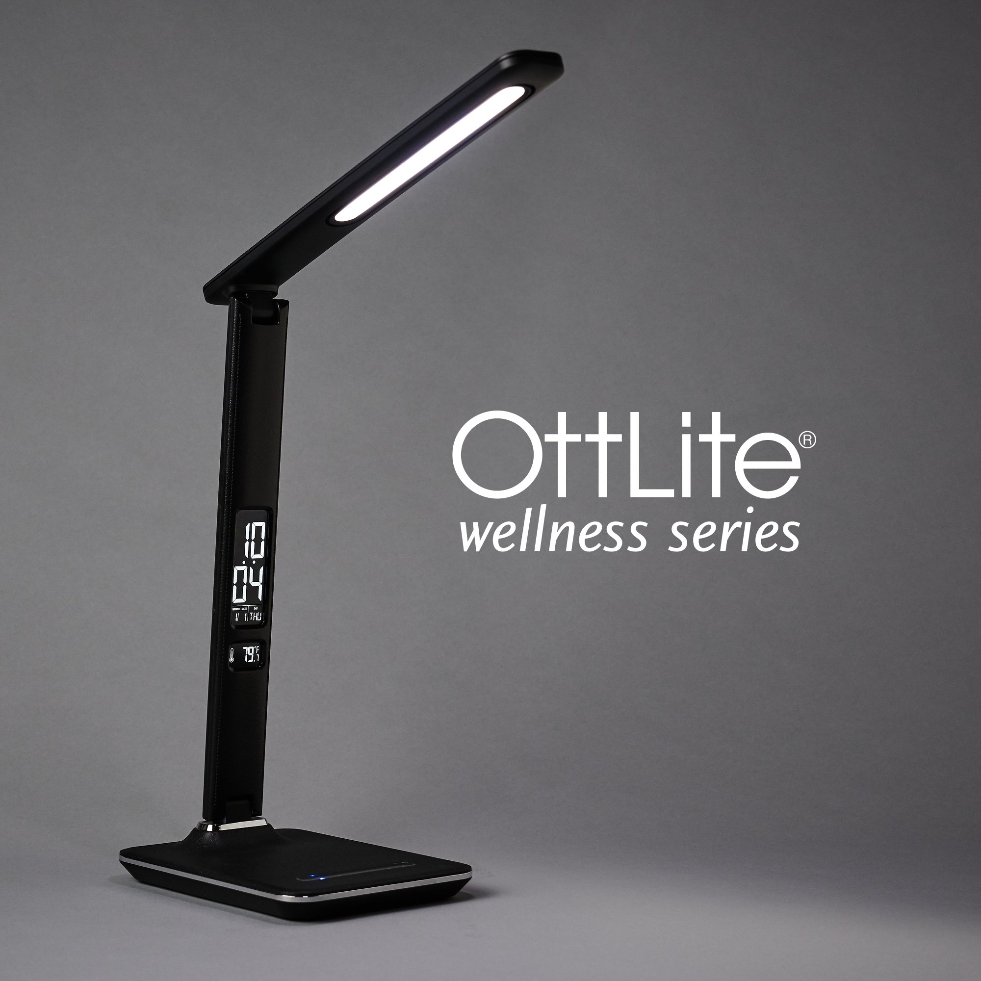 OttLite Renew LED Desk Lamp with Touch Dimmer and USB Charging Port | 6 Brightness Mode, Adjustable, Reduces Eyestrain | LCD Screen Displays Date, Time and Temperature | Great for Office, Home (Black)