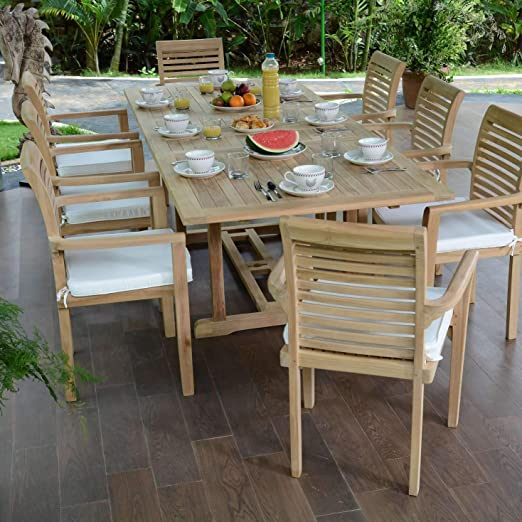 Salón de jardín en teca ecograde Kingston, mesa extensible (1.80 de 2.40 M + 8 sillas Samoa: Amazon.es: Jardín
