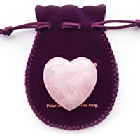 Puffy Heart Hand-Carved of 100% Natural Rose Quartz Crystal Stone for Chakra Energy Healing, Meditation, Massage and Decoration