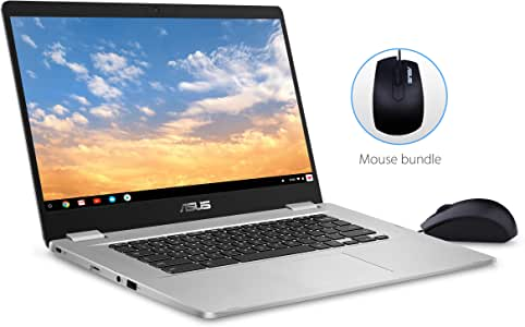 ASUS Chromebook C523 15.6 FHD NanoEdge Touchscreen, Intel Quad Core Pentium Processor, 4GB RAM, 64GB eMMC Storage, Silver Color, Optical Mouse Included, Chrome OS, C523NA-IH24T