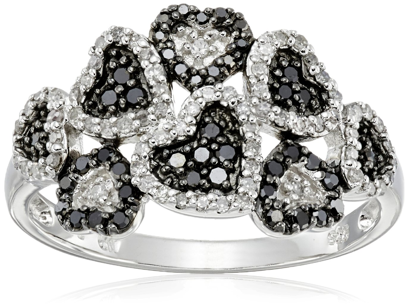 Sterling Silver Multi Hearts Black and White Diamond Ring (3/8 cttw, I-J Color, I2-I3 Clarity), Size 7