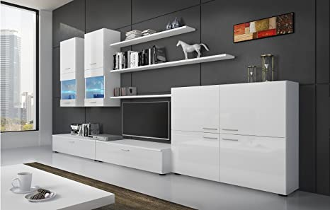 SelectionHome - Mueble Comedor Moderno, salón con Luces Leds, Acabado en Blanco Brillo Lacado y Blanco Mate, Medidas: 300 x 189 x 42 cm de Fondo