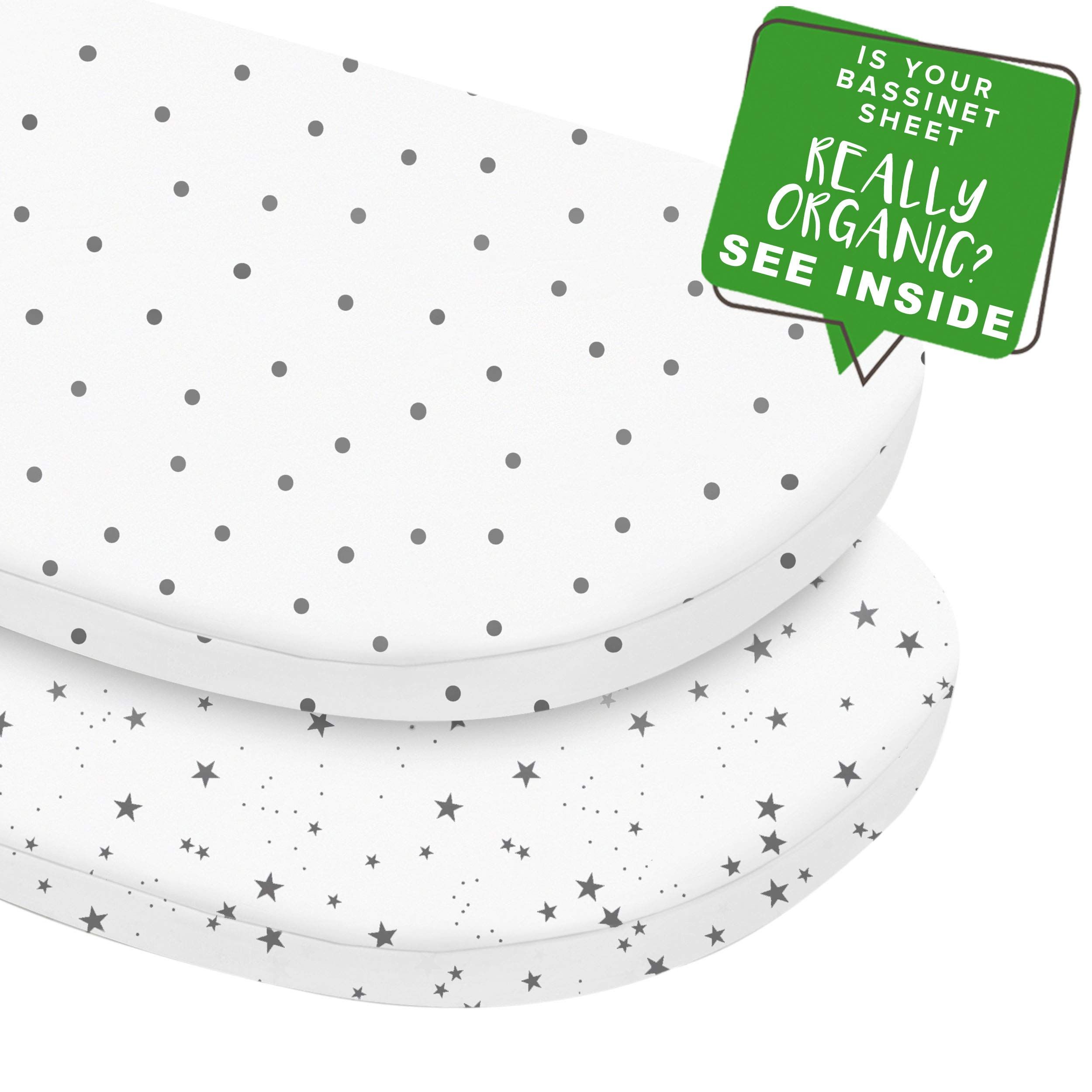 MakeMake Organics Organic Cotton Bassinet Sheet (Set of 2) GOTS Certified Organic Bassinet Mattress Pad Cover Ultra Soft Breathable Fits Hourglass Rectangle Oval (15''x33''+4'', Polka Dot & Stars, White) by MakeMake Organics