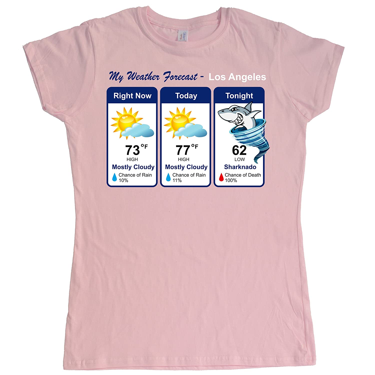 Stooble Womens's Sharknado Weather Forecast T-Shirt Stooble - 1ClickPrint