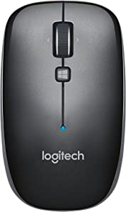 Logitech M557 Bluetooth Mouse – Wireless Mouse with 1 Year Battery Life, Side-to-Side Scrolling, and Right or Left Hand Use with Apple Mac or Microsoft Windows Computers and Laptops, Gray