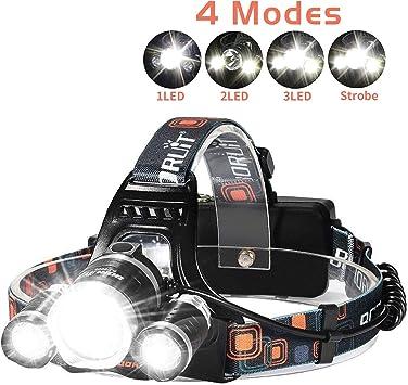 LED Headlamp Bright 6000 Lumen Headlight USB Rechargeable Head Lamp 4 Modes