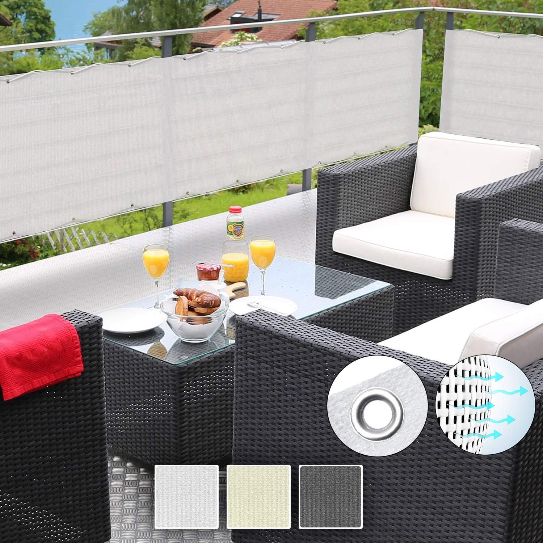 in div Wei/ß Gr/ö/ßen /& Farben Sol Royal SolVision Balkon Sichtschutz HB2 HDPE blickdichte Balkonumspannung 90x300 cm mit /Ösen und Kordel