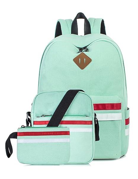 4a73a52df435 Leaper Cute Laptop Backpack School Bookbags Travel Bags Shoulder Bag Pencil  Cases Water Blue 3PCS