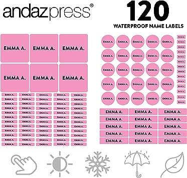 Personalized Waterproof Vinyl Stickers  Kids  Baby Bottle Labels  School Labels  Pink Mini Dots