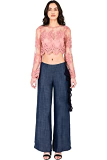 3e7b7213340 Standards   Practices Modern Womens Side Zip Flounce Indigo Tencel Palazzo  Pants