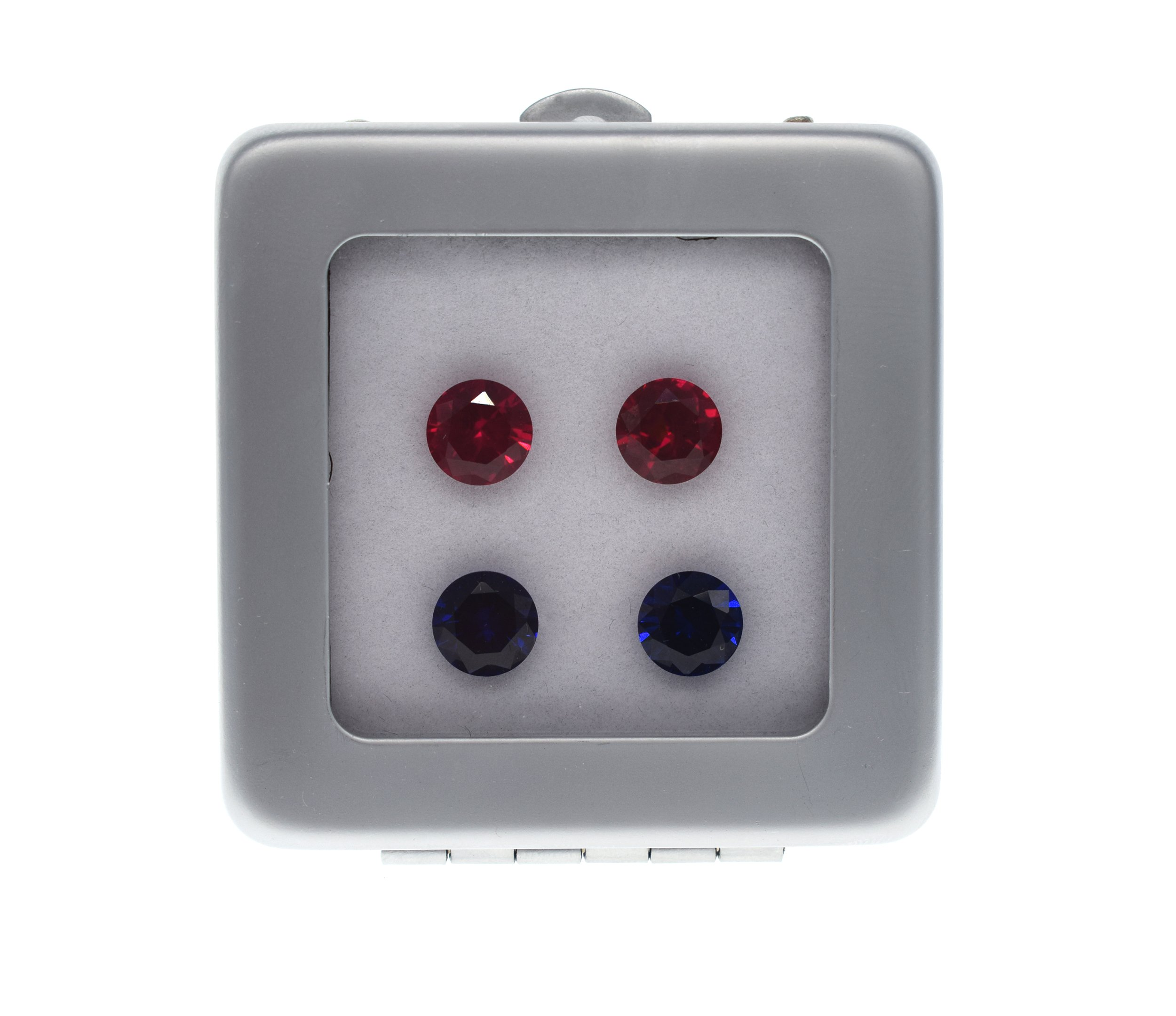 Lab created Eur-machine-cut clearly Synthetic ruby sapphire loose gemstones 4pcs 8mm High-end metal box mixed pack