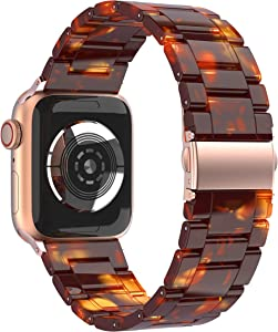 BaiHui Resin Bands Compatible with Apple Watch 38mm/40mm Series 6/SE/5/4/3/2,Tortoise Resin Watch Bands Bracelet with Stainless Steel Buckle Replacement Wristband for Women Men - Tortoise Stone