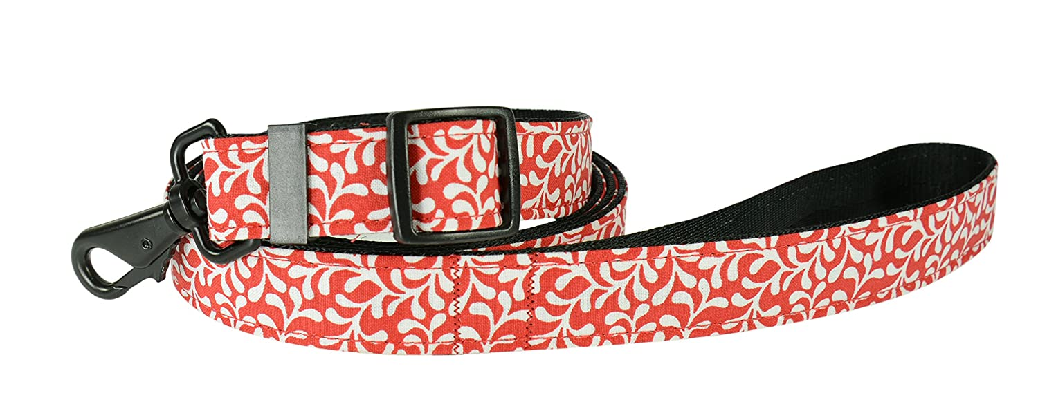 Evans Collars Adjustable Lead with Material, 6', Plume, Red