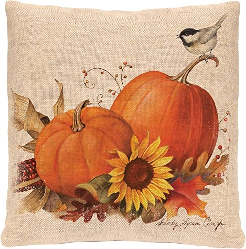 Heritage Lace Harvest Pumpkin Woven Pillow, 18 by 18-Inch, Natural
