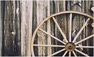 """Ambesonne Barn Wood Wagon Wheel Doormat, Wooden Barn Door and Vintage Rusty Wheel Rustic Home Farm, Decorative Polyester Floor Mat with Non-Skid Backing, 30"""" X 18"""", Black Brown"""