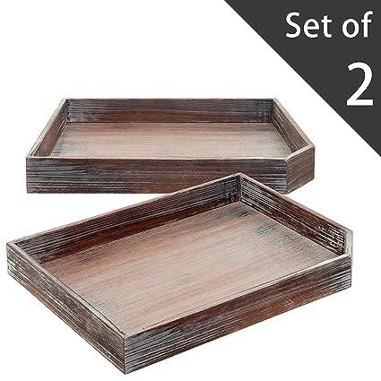 Juego de 2 Vintage envejecido madera mesa de café desayuno bandeja/archivo de escritorio de