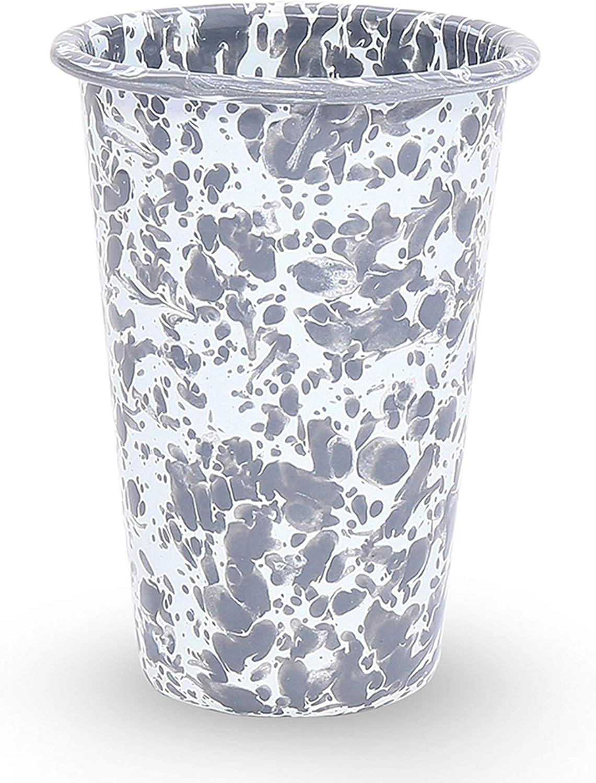Enamelware Tumbler, 14 ounce, Grey/White Splatter (Single)