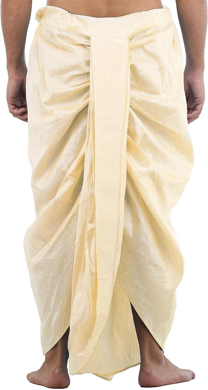 Maenner-Dhoti-Dupion-Silk-Plain-handgefertigt-fuer-Pooja-Casual-Hochzeit-Wear Indexbild 57
