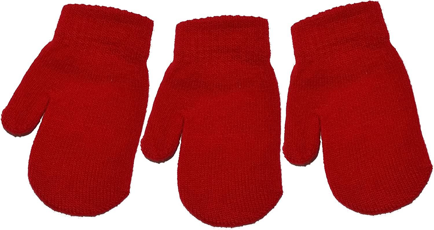 3 Pairs of Baby//Toddler Magic Mittens Various Colours One Size Unisex Acrylic