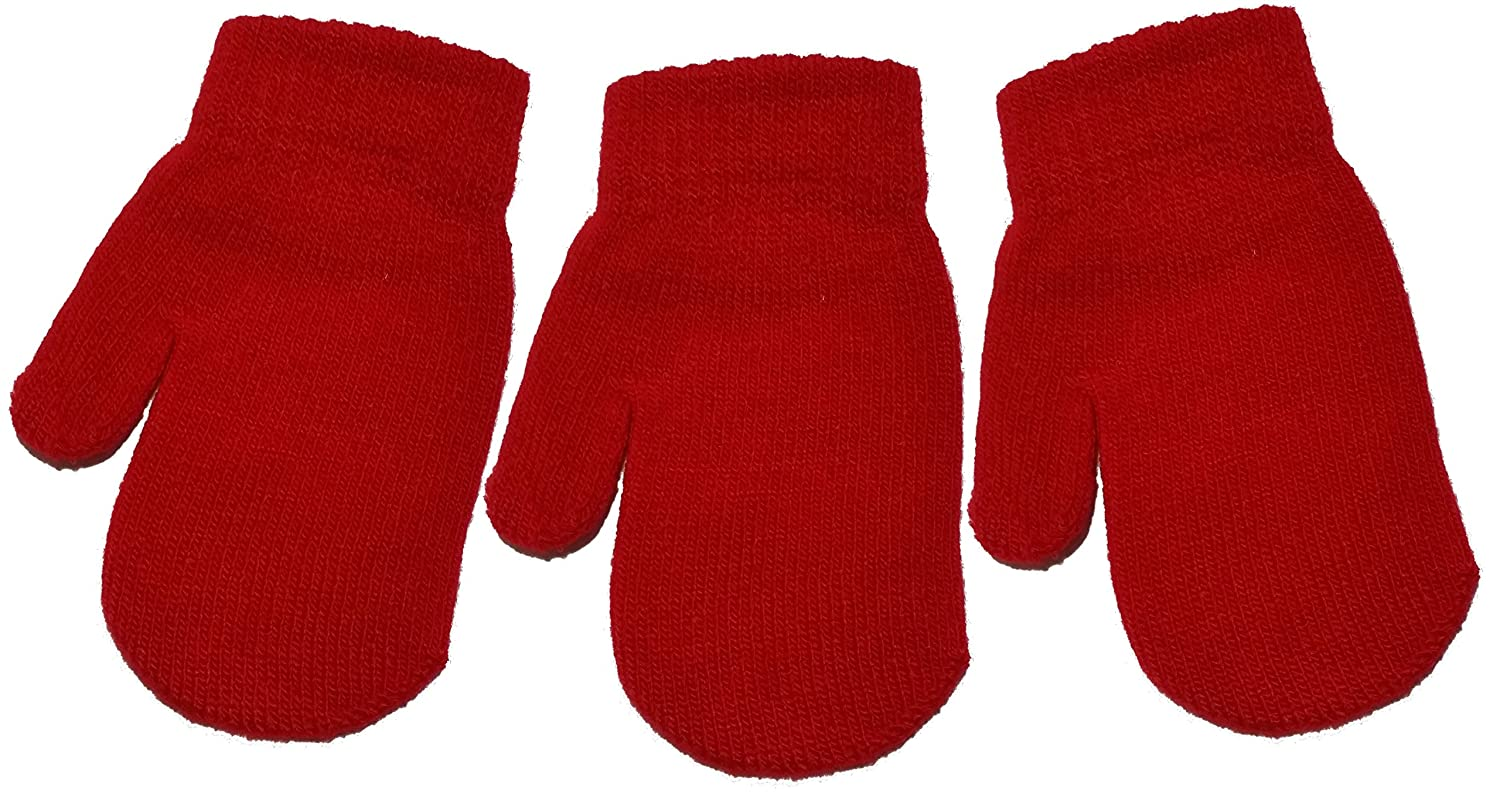 3 Pairs of Baby/Toddler Magic Mittens Various Colours One Size Unisex Acrylic