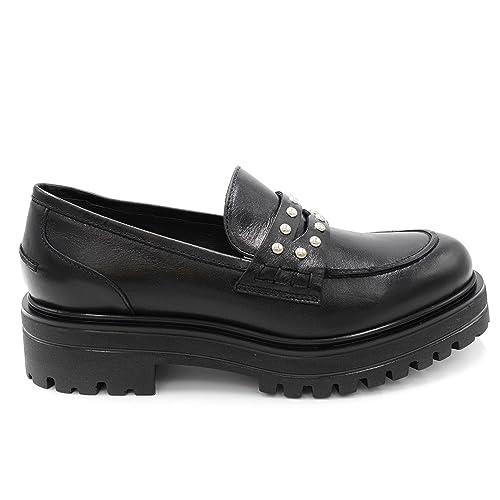 Janet sport Mocasines de Piel Para Mujer Negro Negro Negro Size: 40: Amazon.es: Zapatos y complementos