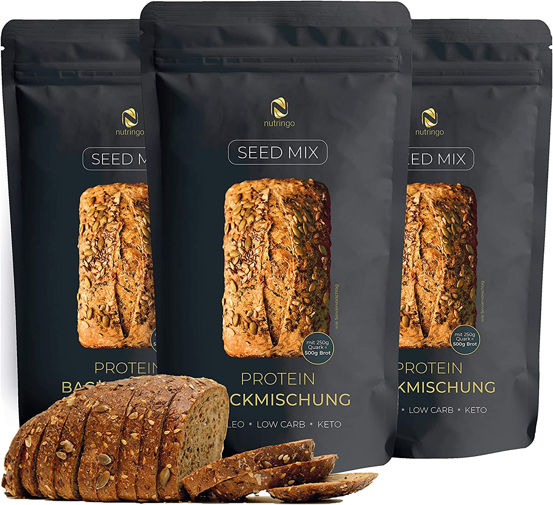 Seed Mix - Mezcla para hornear pan de proteínas 3x200g. | 4g. carbohidratos | Sin cereales | Sin gluten | Para Paleo, Keto baja en carbohidratos y ...