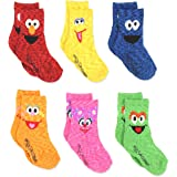 Sesame Street Elmo Boy's Girl's Multi Pack Crew Socks with Grippers (Baby/Toddler)